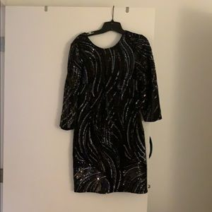 Black Sequenced, Short Night-Out Dress